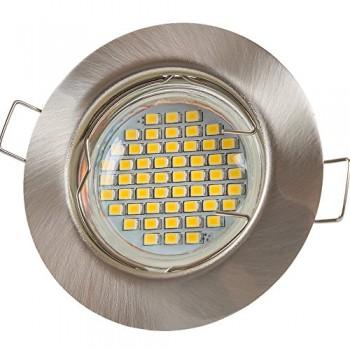 12-X-LU-de-mi-Spot-LED-GU10-3-W-SMD-Blanc-chaud-230-Ven-acier-inoxydable-brossrond-sd863-Cadre-de-montage-avec-douille-GU10-0