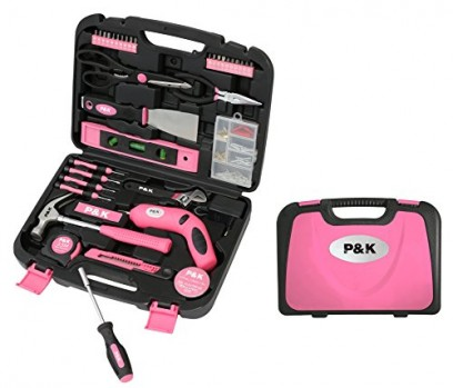 Bote--Outils-135-Pices-Outillage--Main-Mallette-Complte-Coffret-Garnie-Rose-0