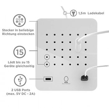 EGG-Electronics--Multiprise-Electrique-Avec-2-Ports-De-Charge-USB-5V-DC-2A--15-Prises--Rallonge-Idale--Placer-Sur-La-Table-Au-Bureau--Protection-Contre-La-Surcharge-max-2200W--Twisted-0