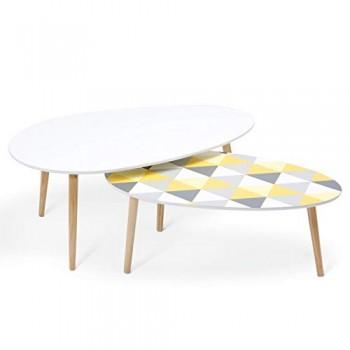 IDMarket-Lot-de-2-tables-basses-gigognes-laques--motifs-blanc-jaune-et-gris-0
