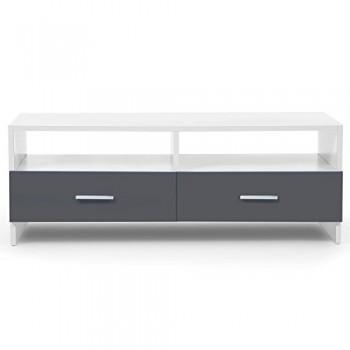 IDMarket-Meuble-TV-FALKO-bois-blanc-et-gris-0