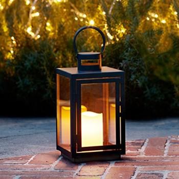 Lights4fun-Lanterne-Noire-en-Mtal-avec-Bougie-LED-pour-Jardin--Piles-0