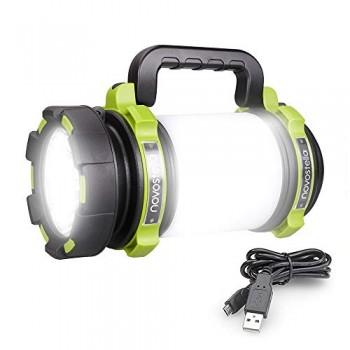 Novostella-1000-Lumens-Lanterne-LED-Rechargeable-Ultra-Puissante-4000mAh-Batterie-4-Modes-Lampe-de-Camping-Cble-USB-Inclus-IPX4-tanche-Spot-Pour-Randonne-Ustellar-0