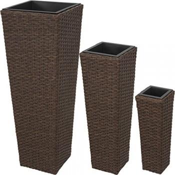 TecTake-Lot-de-3-Pots-de-Fleurs-en-Rsine-Tresse-Facile--Nettoyer-et-Hydrofuge-INCL-3-Pots-intrieurs-Amovibles-diverses-Couleurs-au-Choix-0